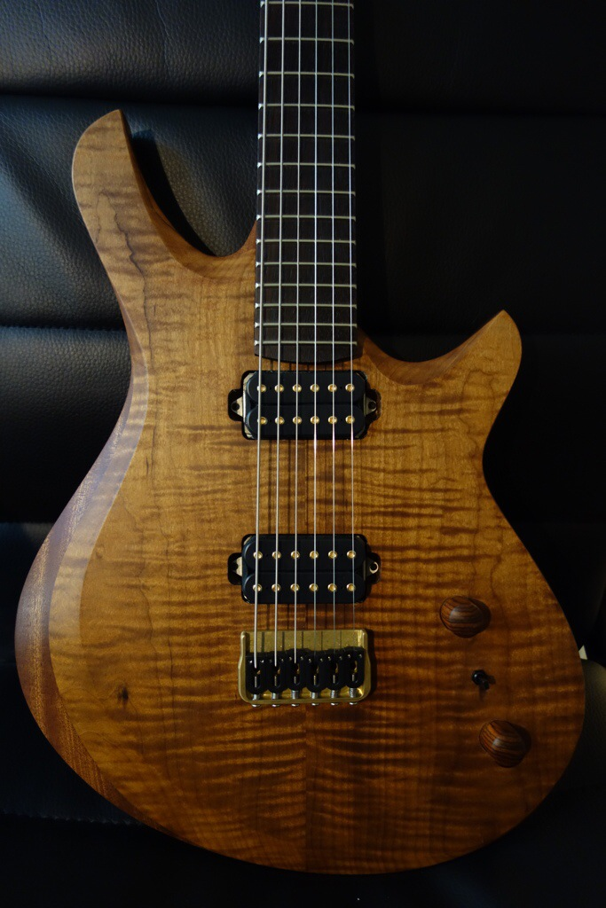 This is the Roasted Maple Flat Top with Contoured Armrestl. It is a solidboy guitar with a sapele back and a monterillo/Indian Rosewood neck. It will be equipped with jescar frets, hipshot hardware , Dimarzio Dominion Bridge and Neck pickups. Its 26